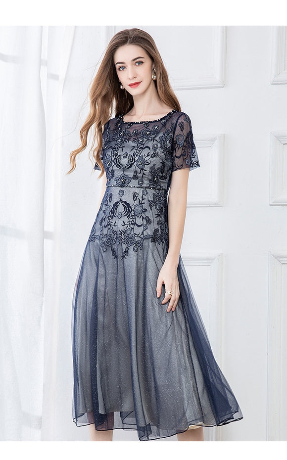 Women Dress High Quality Flower Embroidery Beading Luxury Mesh Party Holiday Elegant Dress