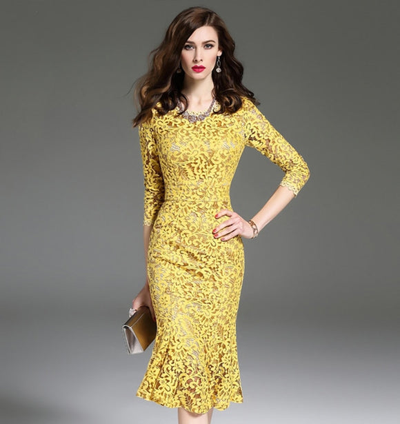 Women's Dresses 3/4 Sleeve Yellow Lace Dress Elegant  Women's Dress