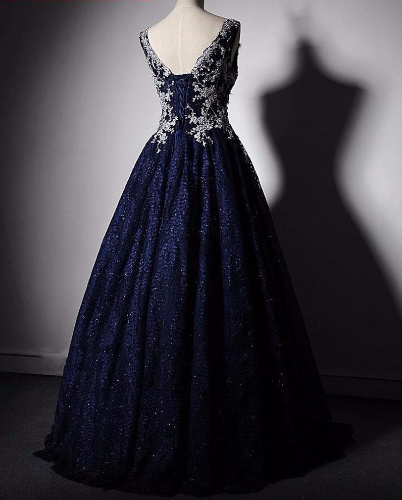 Navy Blue Long Lace Evening Dresses For Wedding Party Women Floor Length Bridal