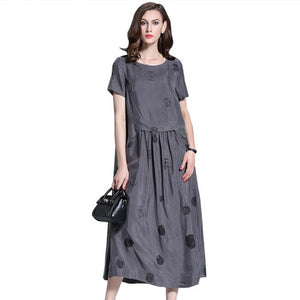 Women Elegant Dress Female Fashion Long Maxi Retro Robe Dot Print Sundress