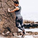 Women Leggings High Waist Sporting Geometric Printing Breathable Side Mesh Workout Legging