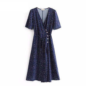 Vintage button and tie Dresses Bouquet Print summer Dress wrap front midi dress Short Sleeve