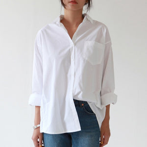 Women Casual Loose Shirts New Fashion Blouse Long Sleeve Buttons White Shirt