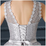 Women Silver Short Evening Dress O-Neck Open Back Lace Up Prom Dresses Party Dress