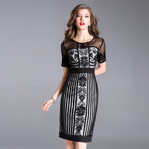NEW luxury women elegant lace Dress  Vintage Embroidery dresses