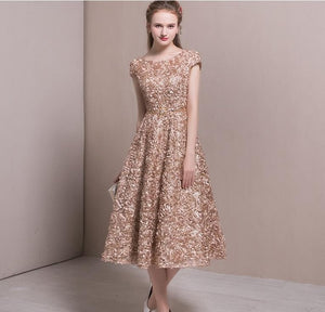 Elegant Women New Luxurious Embroidery Jacquard Dress Fashion Slim vintage short sleeve a-lien Dress