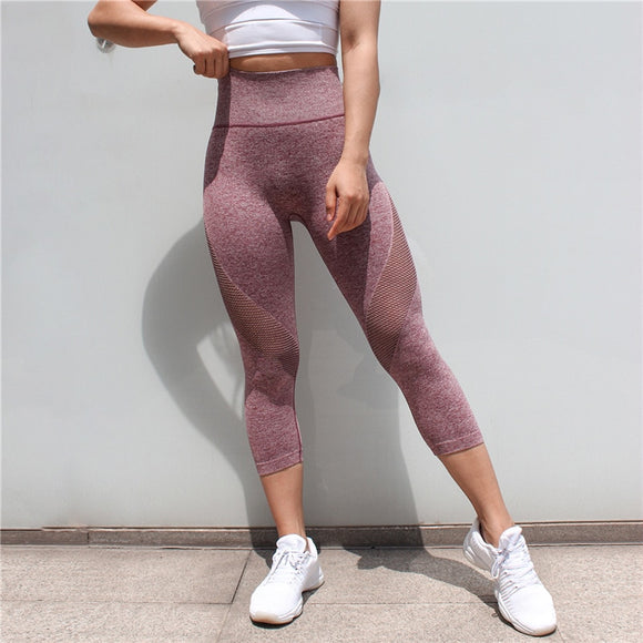 New Running Tights Women Sports Leggings Fitness Mesh Yoga Leggings Fitness Sports Pants