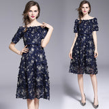 NEW Mesh Prom Patch Heavy Floral Embroidered Midi Party Dress