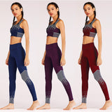 Women Yoga Set, Tank Top + Leggings Tracksuit Gym workout bra & pant Sport Suit Running 2 PCS Set