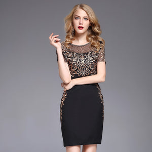 Gold patchwork embroidery o-neck slim women dress hollow out elegant slim female dresses