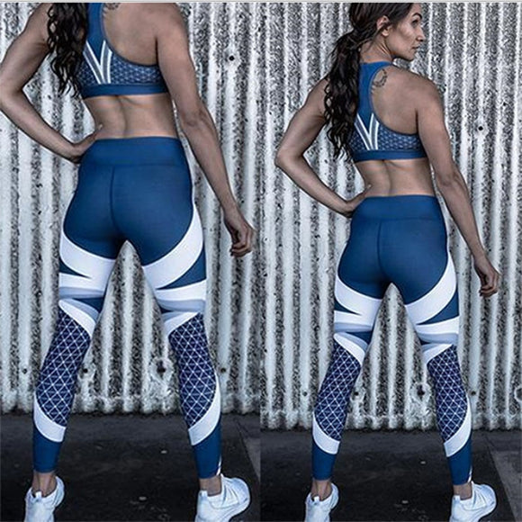 Women Blue Leggings Skinny Elastic Force Sporting Fashion Polyester Fitness Leggings