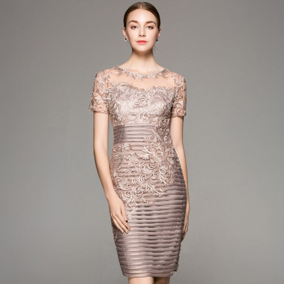 Women Superior quality elegant Pencil Dress O-Neck Embroidery dresses