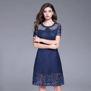 Women O-Neck  Sheer Mesh Embroidery Short Sleeve Cocktail Female Dress