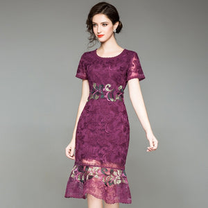 Women Dresses New Elegant Short Sleeve Vintage Dress