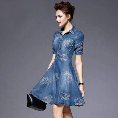 Women elegant fashion dress  embroidered denim casual dress designer plus size