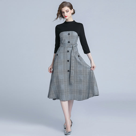 Elegant Women's Dress New Arrival Autumn Midi Retro Office Plaid Dress