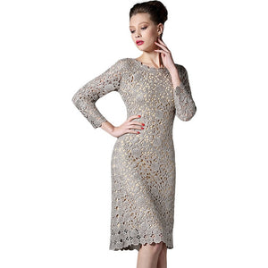 Women Lace Embroider Long Sleeve Spring and Summer Apricot and Black Knee-Length Sexy Dress