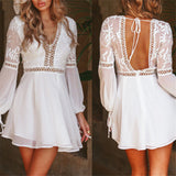 New Fashion Women Casual V-Neck Long Sleeve Lace Trim Short Mini Dress