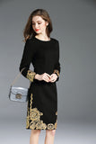 Women Black Embroidery Long Sleeve Slim Knee Length Dress Elegant Vintage
