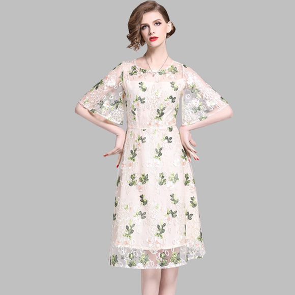 Women Dress High Quality Summer Mesh Embroidery Floral Round Collar Dress Vintage Flare Sleeve