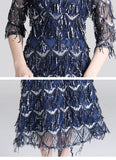 Women Fashion Sequined Tassels Long Dress Slim Lace Dress Elegant Evening Party Dresses