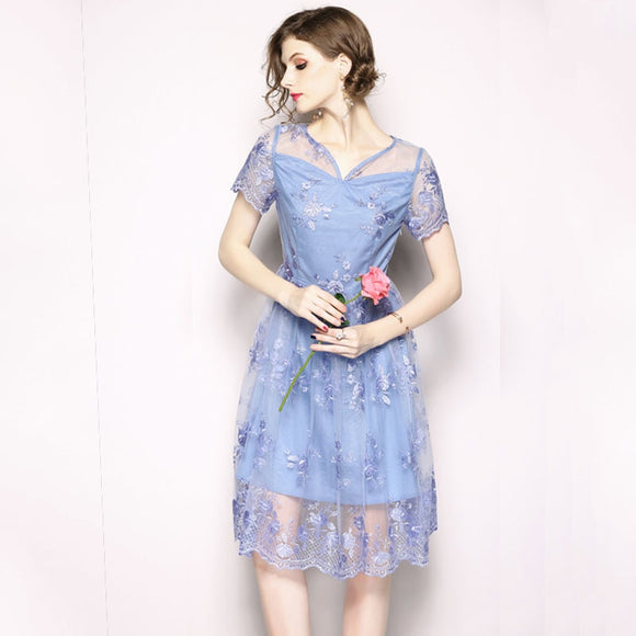 Summer Women Slim Mesh Embroidery dress  V-neck A-line Knee-length Pleated dress