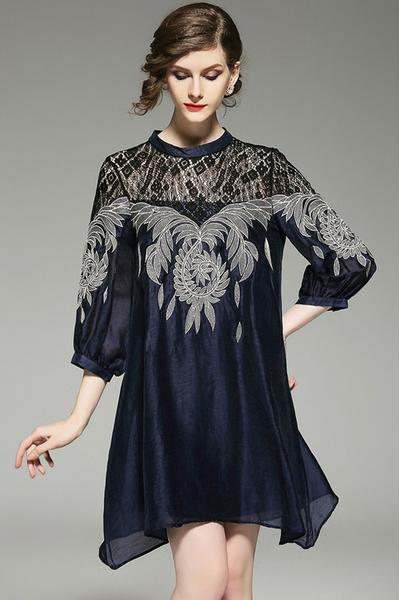 Women Summer Dress Casual Loose Lace Patchwork Chiffon Hollow Out Three Quarter Sleeve Dress
