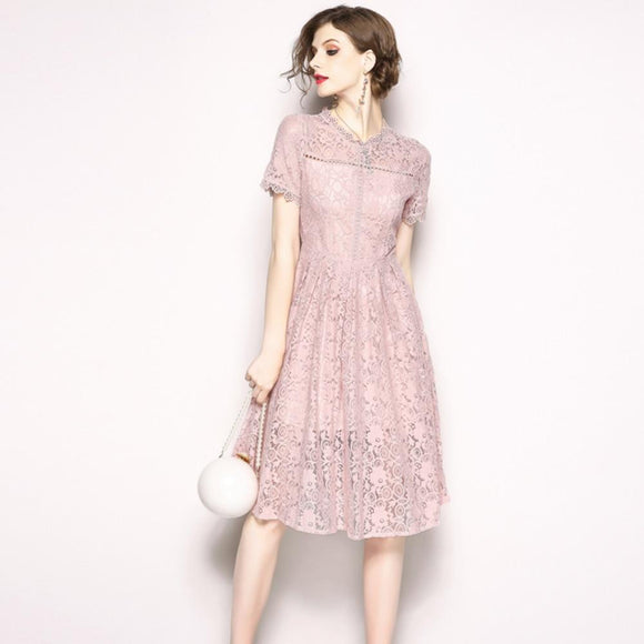 Women Hollow Out Summer Flower Embroidered Lace Long Casual Dress