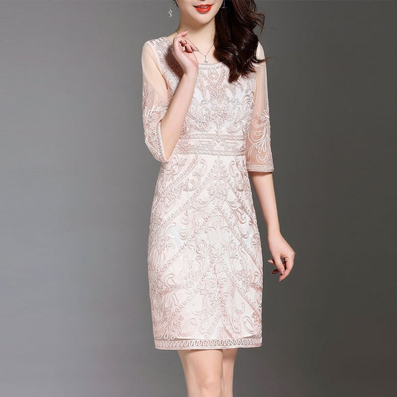 Women Summer Dress Allover Embroidery See Through Sleeve Slim Fitted Body con Sheath Dress