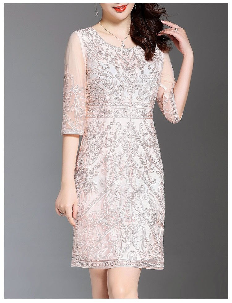 d9c45257fe1 ... Women Summer Dress Allover Embroidery See Through Sleeve Slim Fitted  Body con Sheath Dress ...