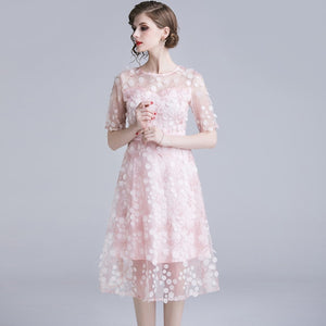 Women High Quality Pink Mesh Dress Summer Floral Embroidery 3D Tull Vintage Luxury Dress