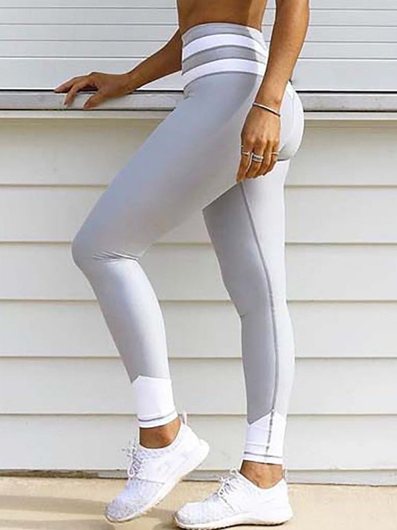 Women Workout Fitness Yoga Pants Leggings Stylish Skinny Pants Patchwork Slim Elastic Leggings