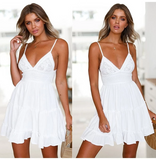 Women Backless Dress Summer Beach Sundress V Neck Yoke Frill Trim White Lace