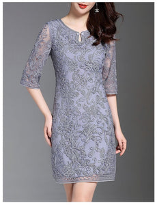 Women High Quality Dress Summer Cocktail Party O-Neck Allover Exquisite Embroidery Dress
