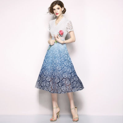 Women Gradient Color Lace Party Dress New Summer Short Sleeve Mid-calf Casual Dress