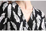 Women Summer Elegant Print Dress Long Maxi  V-Neck Designer High Quality Dress