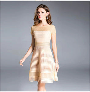 Women Summer Fashion Party Cocktail Striped Patterns Short Sleeve Slim Fitted A-Line Female Dress