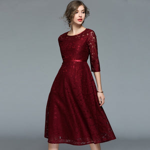 Women Lace Dress Long Sleeve O-neck Sexy Hollow Out Casual Dress