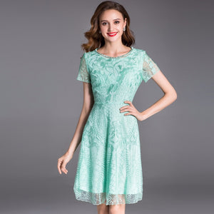 Women Elegant Dress Style European Ladies Lace Embroidery Short Sleeve Rockabilly Dress Grey
