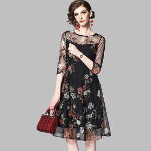 Women Summer Casual Dress Mesh Embroidery Floral Black Vintage O Neck Elegant A Line Dress
