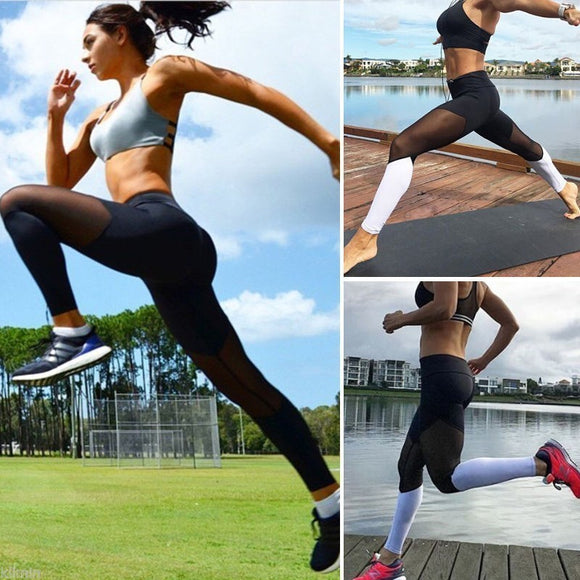 Women Breathable Yoga Pants Gym Seamless Leggings Mesh Training Splice Sport  Running Leggings