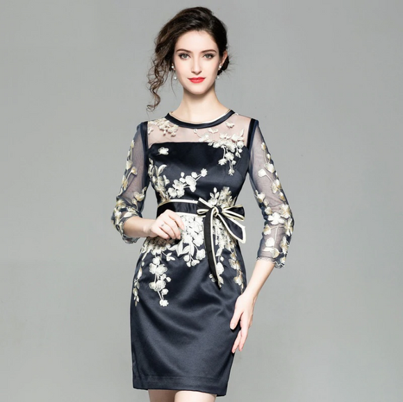 Women's Fashion Cocktail Party Dress Tulle Mesh Embroidery 3/4 Sleeve Body con Sheath Dress