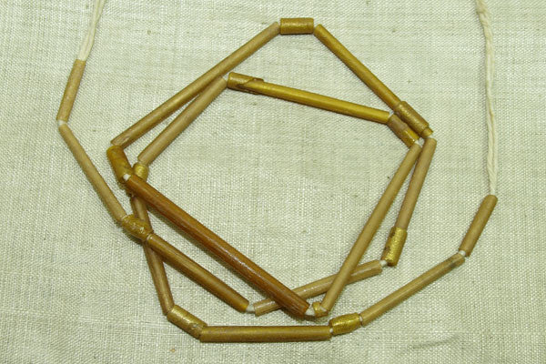Ancient Afghan Gold Foil Glass Tube Beads