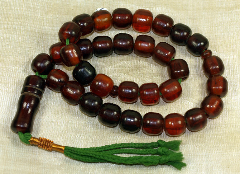 Afghanistan Resin Amber Prayer Beads