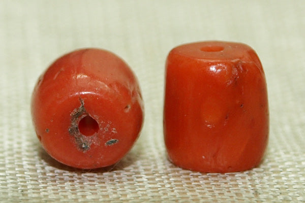 Natural Coral Yemen Bead, 6mm Long