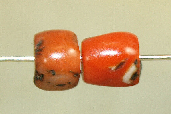 Pair of Small Antique Coral Beads from Yemen