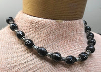 Black Coral Prayer Beads Necklace with Silver inlay from Yemen