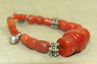 Small Strand of Antique Coral and Silver Beads from Yemen