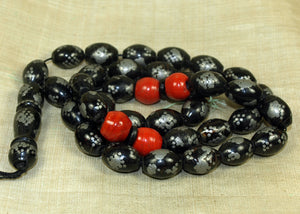 Older Black Coral and Silver Inlay Beads, Subha Necklace