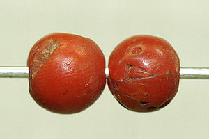 Antique Red Coral Round Bead from Yemen, 5.5-6mm